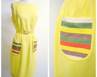1950s Lemon yellow linen stripe raffia pocket day dress / 50s sleeveless summer fitted shift dress - S M