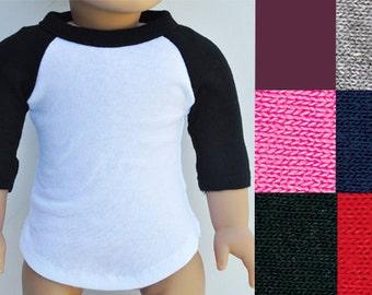 18 inch Doll Clothes - Baseball Tee, Raglan, T-shirt, 3/4 Sleeve, Top, Separates, AG Doll