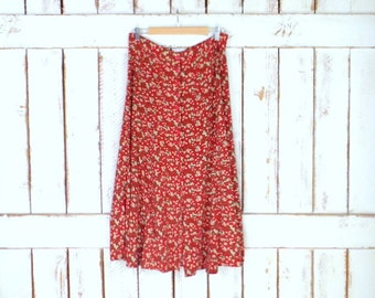 Vintage 90s red floral button down prairie skirt/Express long maxi high wasted button front grunge skirt/large