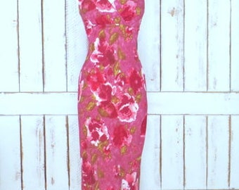90s vintage pink/mauve floral fitted maxi dress/1990s grunge long floral sleeveless dress
