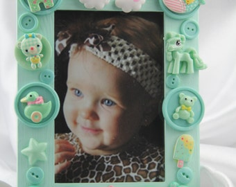 Children's Mint Green Button Picture Frame, Holiday, Birthday, All Occasion Gift