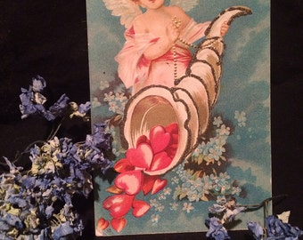 Vintage Valentine Postcard - Angel - Wings - Hearts - Blue Flowers - Glitter