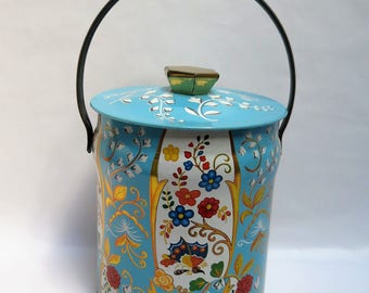 Vintage Daher Blue Floral English Biscuit Confections  Candy Tin Container with Handle