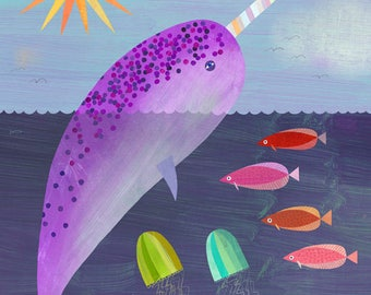 Purple Narwhal Canvas Print
