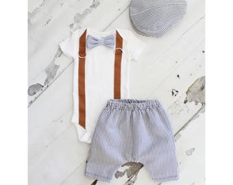 Newborn Baby Boy Coming Home Outfit Set to 3 Items. Bow Tie and Suspender Bodysuit, Harem Pants & Seer Sucker Newsboy Hat Tie Outfit Summer