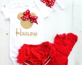 Newborn Baby Girl Coming Home Outfit, Minnie Mouse Personalized Set.  Minnie Head & Name Bodysuit, Diaper Cover Leggings Disney Vacation