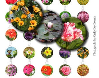 "1"" Digital Collage Bottle Cap Sheet - Flowers - Instant Download - Printable - for Jewelry Pendants - 35 Different Images"