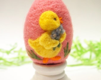 Needle Felted Egg - Baby Chick with Flowers - Easter Egg