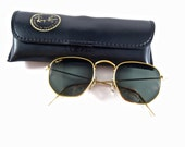 RESERVED-----Ray-Ban Arista hex gold classic W0980 WXAS Made in USA. B&L Bausch and Lomb 1980s. hexagon circle lenses.