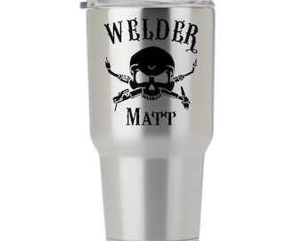 Welder Decal - Customize with Name - Adheres to Yeti, Ozark, Arctic, Tumblers, Vehicles, Glass and Laptops