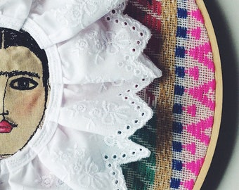Frida Kahlo - wall art - face - textile art - ooak