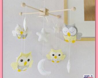 Baby Crib Mobile,Owl Nursery Mobile, Neutral Owl Mobiles, Yellow and Gray Nursery Mobile, White Moon Stars Mobile, Match Bedding
