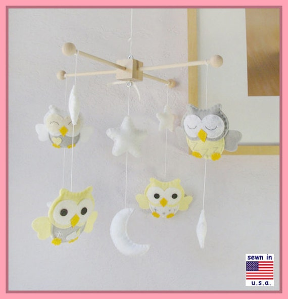 Baby Crib Mobile,Owl Nursery Mobile, Neutral Owl Mobiles, Yellow and Gray Nursery Mobile, White Moon Stars Mobile, Match Bedding