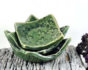 Condiment Set Square Dishes Handmade Nesting Bowls Pottery Floral Tableware Green Ceramic Serving Bowls - Set of Three