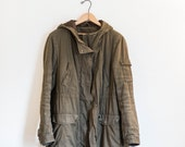 forest green army utility cargo coat jacket parka - womens size 10 medium