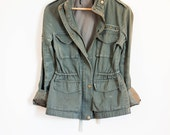 forest green army utility cargo coat - hipster jacket parka - women's size 2 small