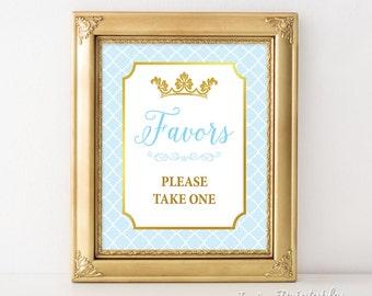 Favors Shower Sign, Prince Favor Sign, Light Blue & Gold Baby Shower, Crown, 2 Sizes, DIY Printable, INSTANT DOWNLOAD