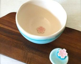 Last one, Handmade Cherry Blossoms Matcha Tea Bowl with Cutlery Rest Set, NY Sky Blue Porcelain Bowl with Cherry Blossoms, Matcha Tea Bowl