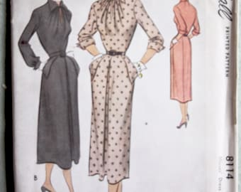 Vintage McCall 8114 Woman's Tailored Dress Pattern 28.5 Bust 1950