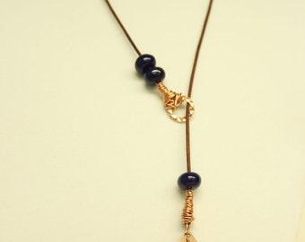Indigo & Copper Necklace-Larait Necklace-Wire Wrapped Necklace-Boho Jewelry-Leather Larait Necklace-Glass Bead Necklace-Leather Necklace