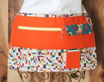 Vendor Apron, Utility Apron, Teacher Apron - Orange with Colorful Mosaic - Ready to Ship
