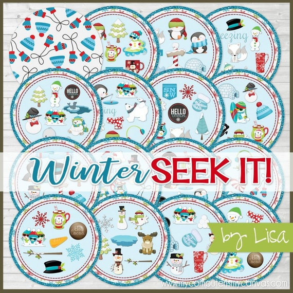 WINTER SEEK IT Match Game, Snowman Printables, Party, Family Game Night, Matching Game Cards - Printable Instant Download by Lisa