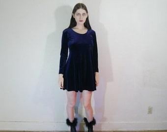 90s blue velvet baby doll long sleeve mini dress size small