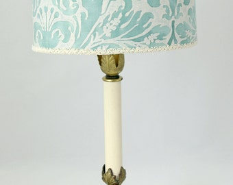 Antique French Lamp w/ Custom Fortuny Shade - FREE SHIPPING in US!