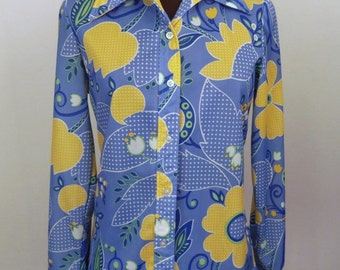 Vintage 70's Shirt Blouse Button Down Large Floral Print Blue Yellow Polyester Hippie Boho Size Women's XS or Teen