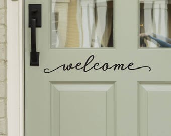 Modern Farmhouse Style Front Door Decals - Welcome Decal for Door or Entryway Decor -WB411 & Door decal | Etsy pezcame.com
