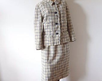 1960s Wool Suit vintage Davidow Jackie O style jacket and pencil skirt
