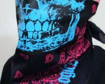 MIAMI VICE 3 Neon Blue Black Light UV Reactive Skull black Bandana fuchsia paisley Neck Warmer Mask Rave Plur Gaiter buff wrap retro wave