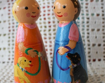 Peg Doll Girl with Puppy Dog - Choose One -large size 3.5""
