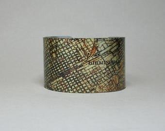 Birmingham Alabama Map Cuff Bracelet Unique Hometown City Gift for Men or Women