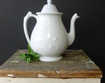 Vintage Antique White Ironstone Teapot
