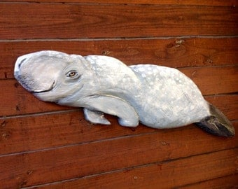 """Manatee 41"""" chainsaw wood carving sea cow sculpture indoor outdoor nature lover rustic home decor wall mount art original Todd Lynd sign"""