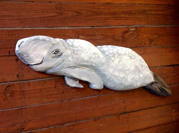 "Manatee 41"" chainsaw wood carving sea cow sculpture indoor outdoor nature lover rustic home decor wall mount art original Todd Lynd sign"