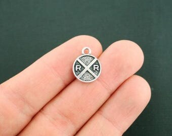 4 Rail Road Crossing Charms Antique Silver Tone Two Sided - SC4575