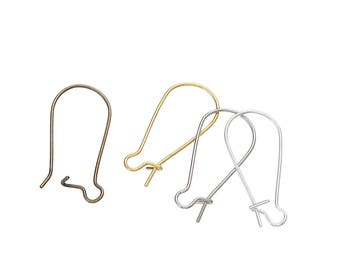 200 Mixed Earring Wires Kidney Style Hooks Good for 25 Pairs of Each Finish - Bronze, Silver, Copper, and Gold - Z228