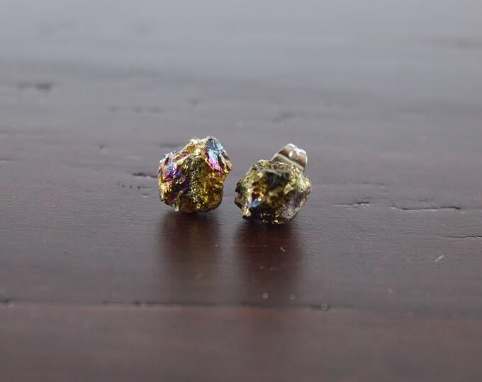 Peacock Ore Earrings, Mineral Jewelry, Boho Studs, Hypoallergenic Posts, Stainless Steel Earrings, Raw Stone Earrings, Chalcopyrite Earrings