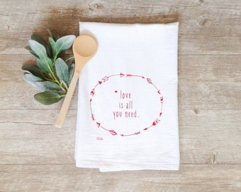 Tea Towel - Love Is All You Need Red Arrows Flour Sack Screen Printed Cotton Dish Cloth Heart Beatles Woodland Rustic Red