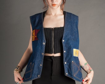 Motorcycle Patch Denim Vest