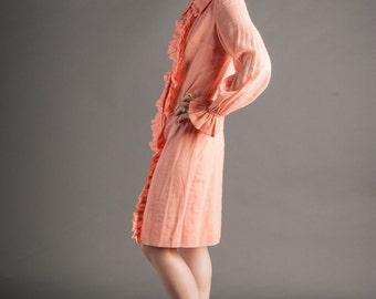 1950's Peachy Keen Ruffle Front Collared Dress