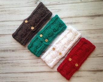 Crochet Ear Warmer, Fits Teens to Women, Custom order, Custom colors, Wood buttons, Crochet headband, Ear warmer, Photo Prop