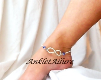 Infinity Rhinestone Anklet Ankle Bracelet Something Blue Bridal Jewelry Bridal Body Jewelry Garter Ceremony Foot Jewelry Bridal Shower Gift