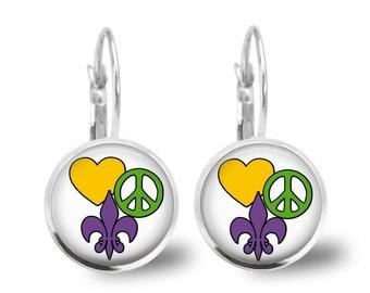 Mardi Gras Earrings Tile Earrings Mardi Gras Jewelry Beaded Jewelry Tile Jewelry Holiday Jewelry Fleur de Lis Jewelry Silver Earrings