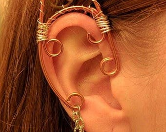 Steampunk Copper and Silver Wire Wrap Elf Ears