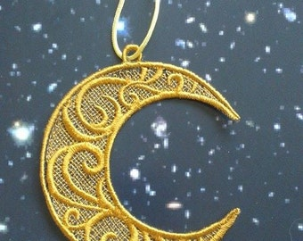 UK Crescent moon lace applique, trimming, card topper, jewellery, decoration