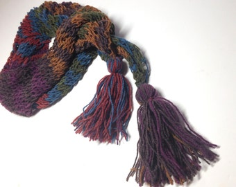 Long Lacy Scarf, Hand knit Striped Scarf, Asymmetrical Scarf with Tassels, Rust Blue & Green Winter Scarf