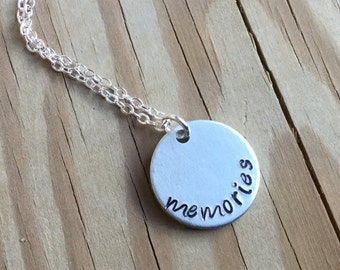 "SALE- Quote Necklace- ""memories"" - only 1 available"